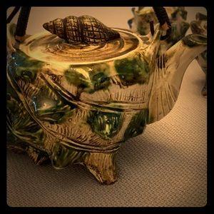Exquisite Vintage Barbotine sea shells tea set